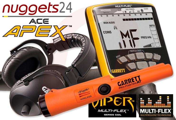 APEX Metalldetektor inklusive Funk Kopfhörer inklusive Funk Pro-Pointer AT von GARRETT bei nuggets24de im Sondengänger Shop Lass Sondeln