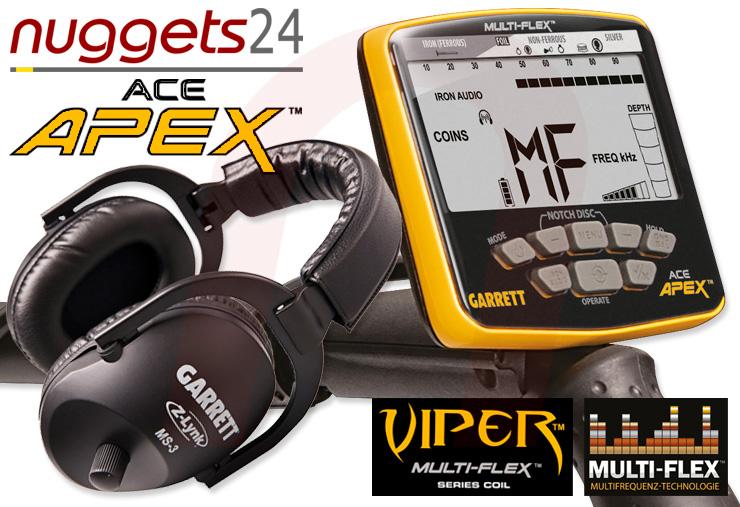 APEX Metalldetektor inklusive Funk Kopfhörer von GARRETT bei nuggets24de im Sondengänger Shop Lass Sondeln