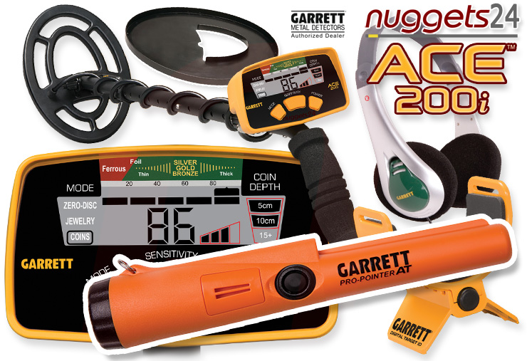 Garrett ACE200i ACE 200 i inklusive wasserdichter Pro-Pointer AT bei nuggets24 ACE200 Metalldetektoren Online Shop