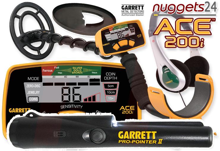Garrett ACE200i ACE 200 i inklusive Pro-Pointer II 2 bei nuggets24 ACE200 Metalldetektoren Online Shop