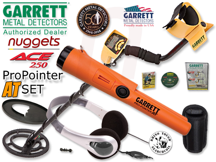 Garrett ACE 250 inklusive Pro-Pointer AT PinPointer Metalldetektor SET kauft man bei nuggets24.com