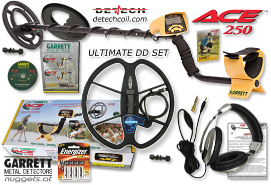 www.nuggets.at GARRETT ACE250 Ultimate DD Set Metalldetektor OnlineShop Metal Detector