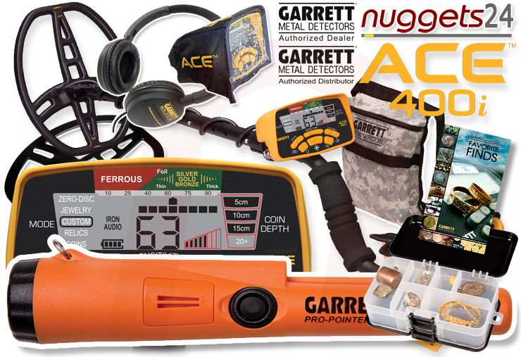 Garrett ACE 400i 400 ACE400i PinPointer DUO Set inklusive Pro-Pointer AT nuggets24 Metalldetektor Online Shop Metal Detector