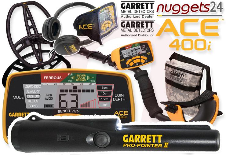 Garrett ACE 400i 400 ACE400i Pro-Pointer DUO Set nuggets24 Metalldetektor Online Shop Metal Detector