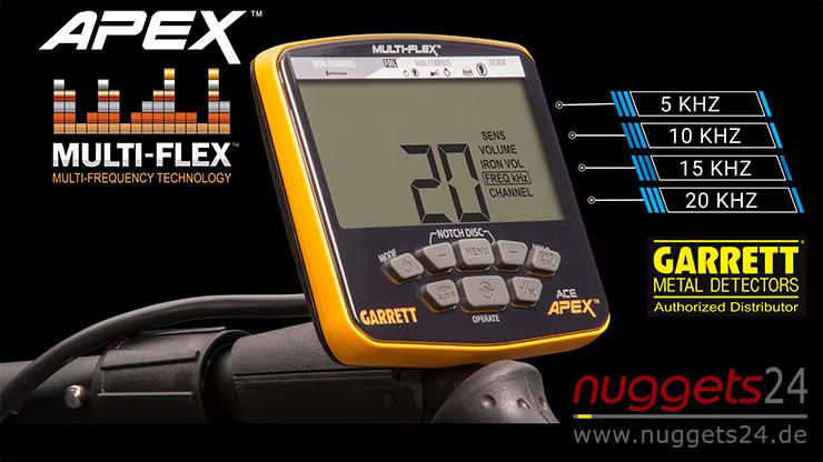 GARRETT ACEAPEX APEX Metalldetektor Neuheit mit Multifrequenz bei nuggets24de