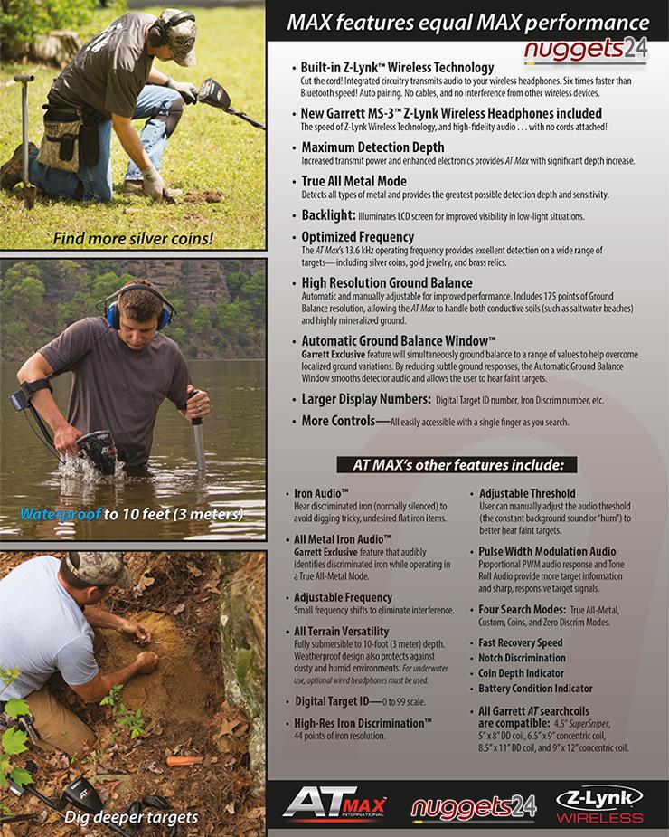 Garrett AT MAX Metalldetektor AT-MAX kauft man bei nuggets24 mit Beratung und Service vom Fachmann