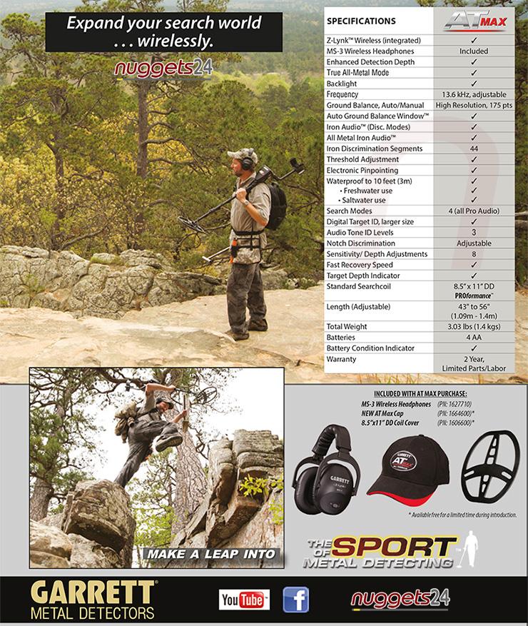 Garrett AT MAX ATMAX Metalldetektor bei nuggets24 deinem Metalldetektoren Shop mit Beratung und Service vom Profi
