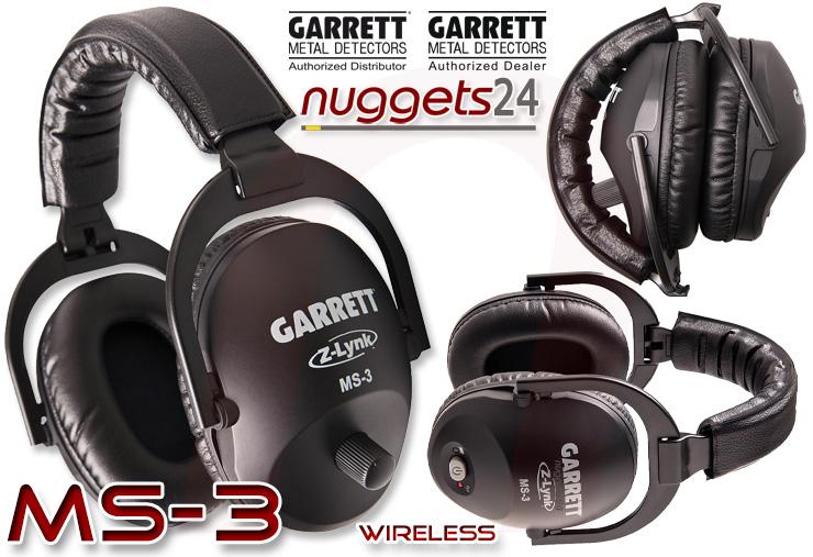 Garrett MS-3 Funk Kopfhörer Headphone wireless Metalldetektor Online Shop www.nuggets24.com