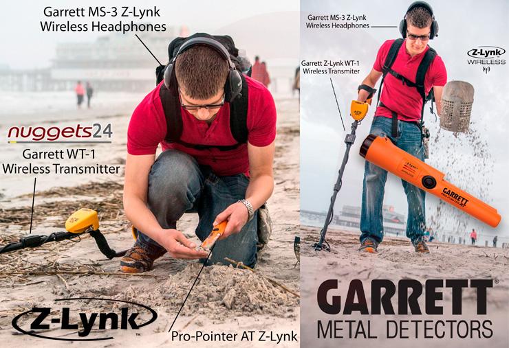 Garrett TRIO Z-Lynk Kit Set mit Funk Kopfhörer + Funk PinPointer AT + Funksender für jeden Metalldetektor bei nuggets24.de