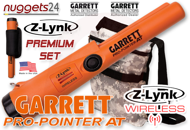 GARRETT Pro-Pointer Z-LYNK ZLynk nuggets24 Premium Edition inklusive Original Fundtasche Camo wasserdichter FUNK PinPointer für alle Metalldetektoren nuggets24com