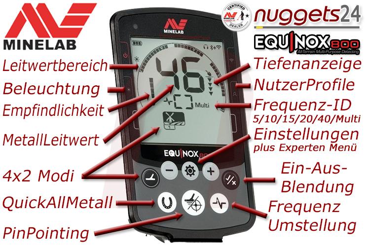Minelab Equinox 800 und 600 bei nuggets24 in deinem Metalldetektor Shop Hotline 0049 700 33835867