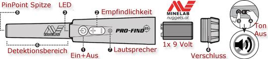 MINELAB ProFind 25 Pin Pointer Metalldetektor OnlineShop www.nuggets.at