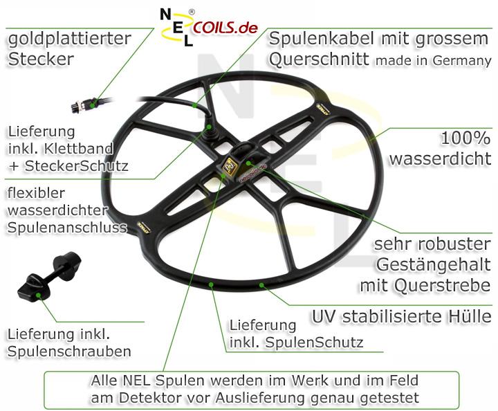 NEL Coil Coils Spule Spulen Sonde Sonden Metalldetektoren Metal Detector Detektoren Detectors www.nuggets.at www.nelcoils.de