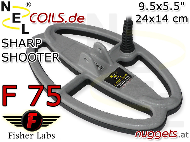 NEL SharpShooterSuchspule Fisher F75 F 75 Coil Coils Sonde Sonden www.nuggets.at