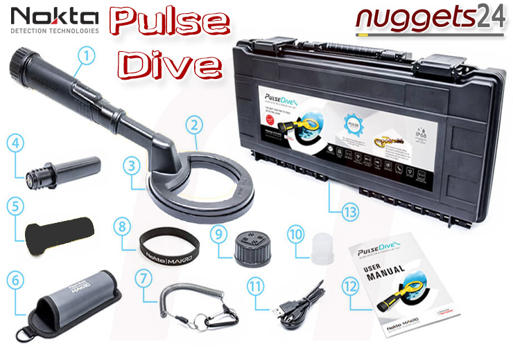 Nokta PulseDive schwarz Pulse Dive PinPointer Unterwasser Scuba Metalldetektor bei nuggets24