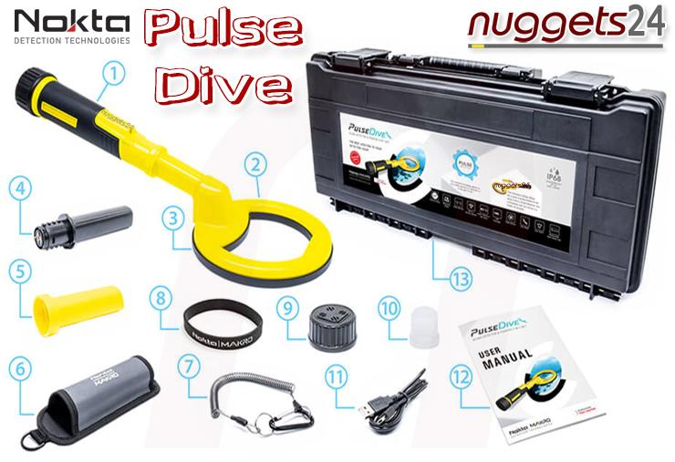 Nokta PulseDive Pulse Dive PinPointer Unterwasser Scuba Metalldetektor bei nuggets24