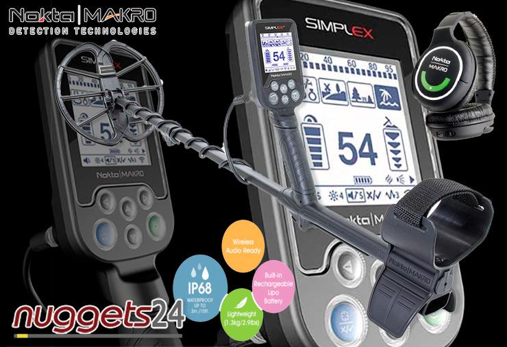 Nokta Simplex Metalldetektor Funkkopfhörer wasserdicht Vibration 28 cm Spule und vieles mehr bei nuggets24