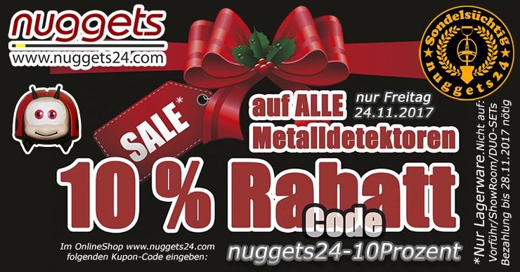 Friday Sale bei nuggets24 deinem Schatzsucher Metalldetektor Shop