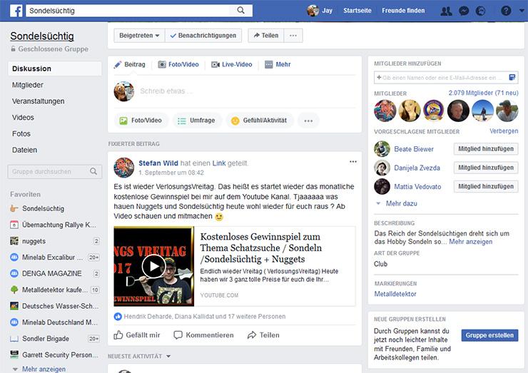 Forum für Metalldetektoren bei facebook in der Sondelsüchtig Gruppe - beitreten und wohlfühlen