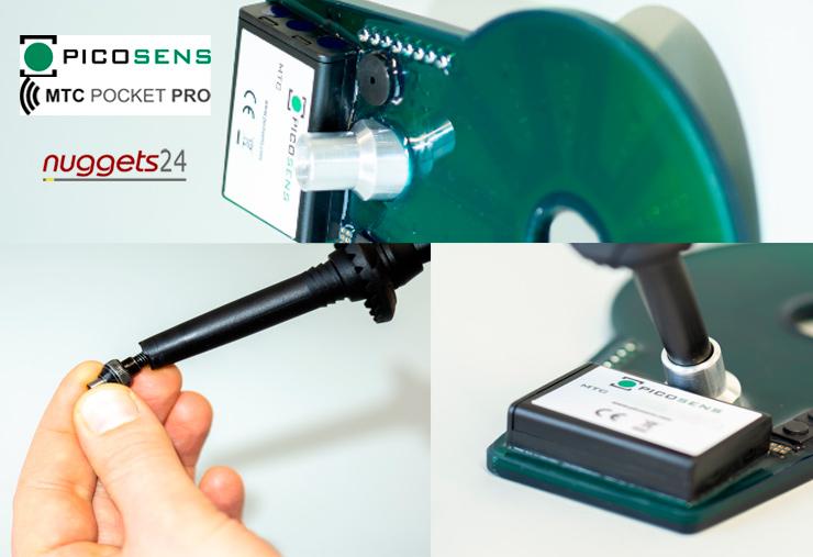 Metalldetektor mit Bluetooth und mit Wanderstock Halterung picosens MTCPOCKETPRO Metal Detector nuggets24com