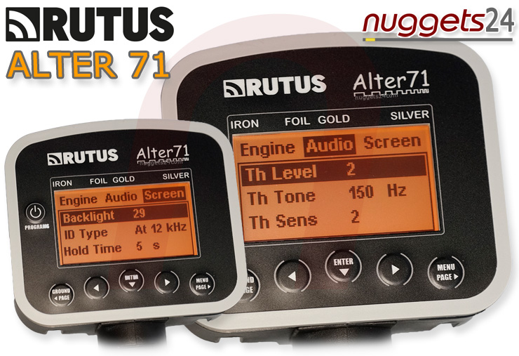 Multi Frequenzy RUTUS ALTER 71 RA71 nuggets24com Dual Coil Deep Max Metal Detector Package