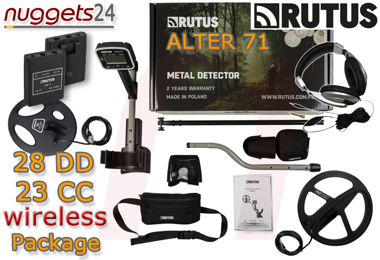 Rutus Alter 71 wireless Funk Multi Frequenzy Detector DUO COIL 2 Spulen Set Package nuggets24.com