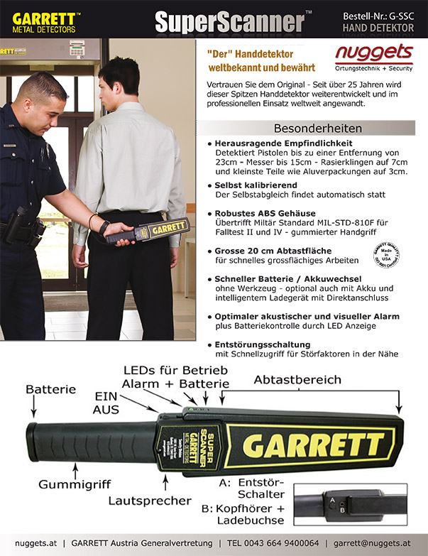 GARRETT SECURITY www.nuggets24.de SuperScanner SuperWand THD