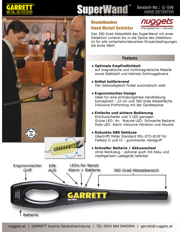 GARRETT SuperWand Handdetector www.24security.at www.nuggets.at OnlineShop