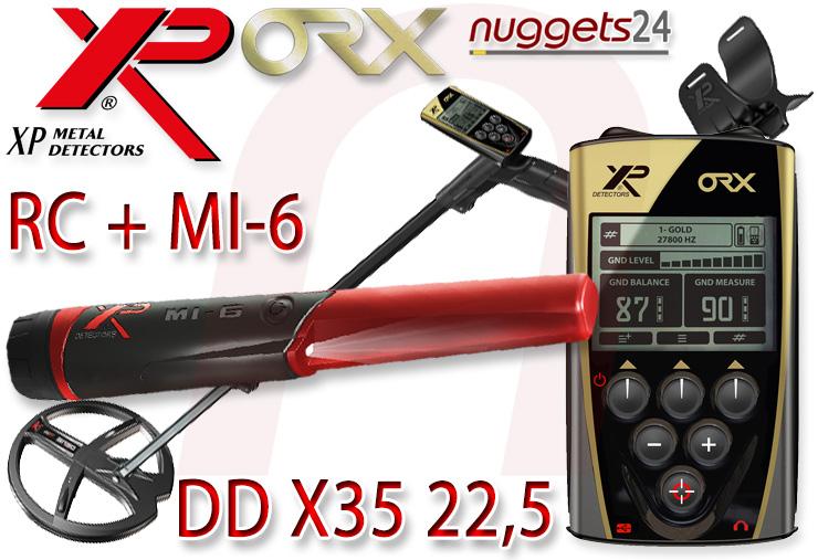 XP ORX Metalldetektor mit 22,5 X35 Spule + MI-6 PinPointer + RC Fernbedienung bei nuggets24 im Schatzsucher Shop für Sondengänger sofort lieferbar