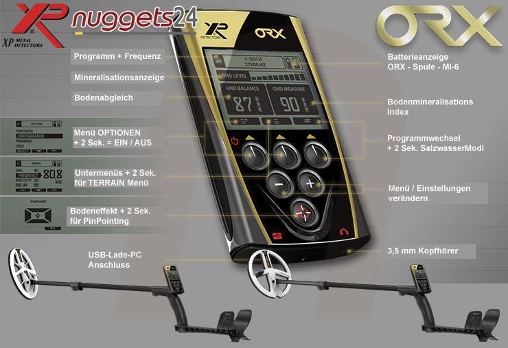 XP ORX Metalldetektor mit Funk Spule Funk Fernbedienung  Funk Kopfhörer sofort lieferbar