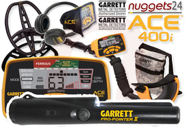 GARRETT ACE 400i ACE400i Metalldetektor inklusive Pro-Pointer II PinPointer nuggets24 DUO SET