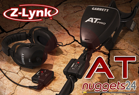 GARRETT Z-LYNK 6,3 1/4 + AT Wireless Funk Kopfhörer System AT PRO + GOLD ATX SeaHunter Infinium
